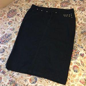 Bisou Bisou Jean Skirt Studded Black S 🖤🦋